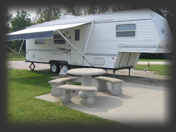 RV Camper and Picnic Table